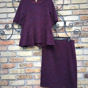 Loft matching purple/maroon peplum suit